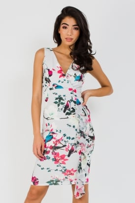 b9d2bc647035 Wal G White Plunge Neck Floral Midi Dress
