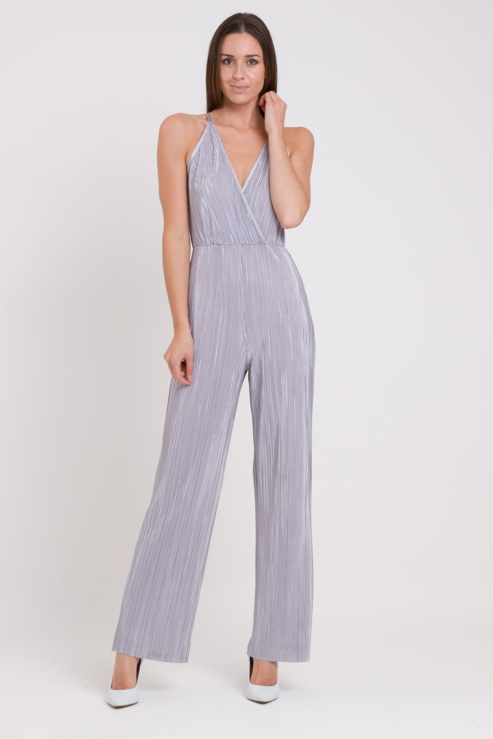 174e4bd1f68c WalG Crinkle Pleated V-Neck Jumpsuit