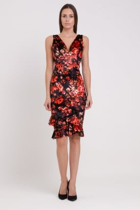 WalG Crushed Velvet Deep V Floral Midi Dress