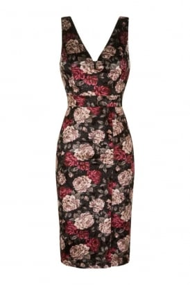 WalG Crushed Velvet Floral Midi Dress