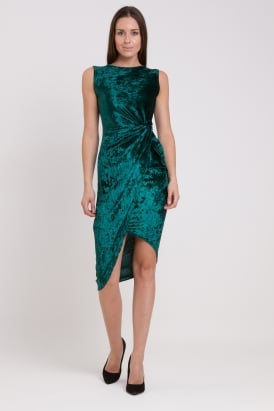 WalG Crushed Velvet Knot Tie Dress