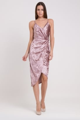 WalG Crushed Velvet Knot Tie Open Back Dress