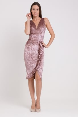 WalG Crushed Velvet Midi Dress With Front Frill