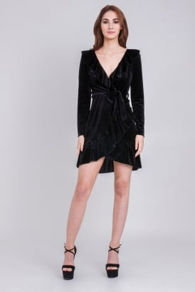 WalG Crushed Velvet Wrap Dress