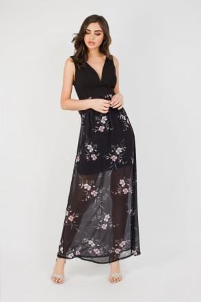 64c0b477f8 WalG Deep V Floral Mesh Maxi Dress