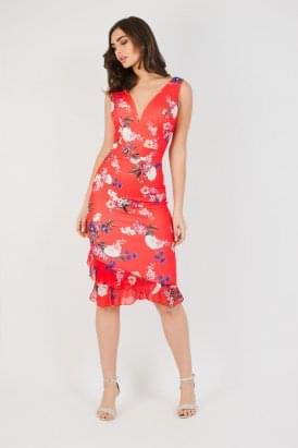 f3689be3d052 WalG Deep V Floral Midi Dress
