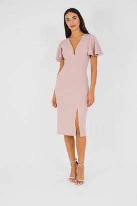 0a7ded6a910 WalG Deep V Midi Dress With Shoulder Frill