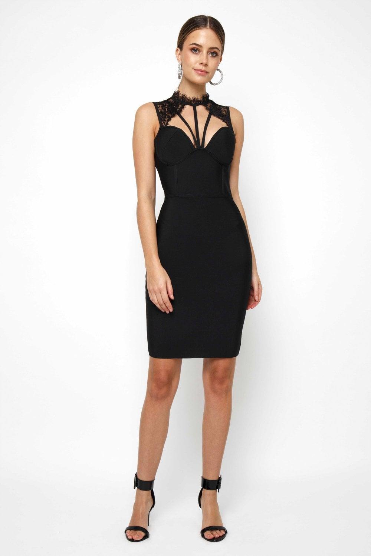 44dc58497a9e WalG High V Neck Black Mini Dress