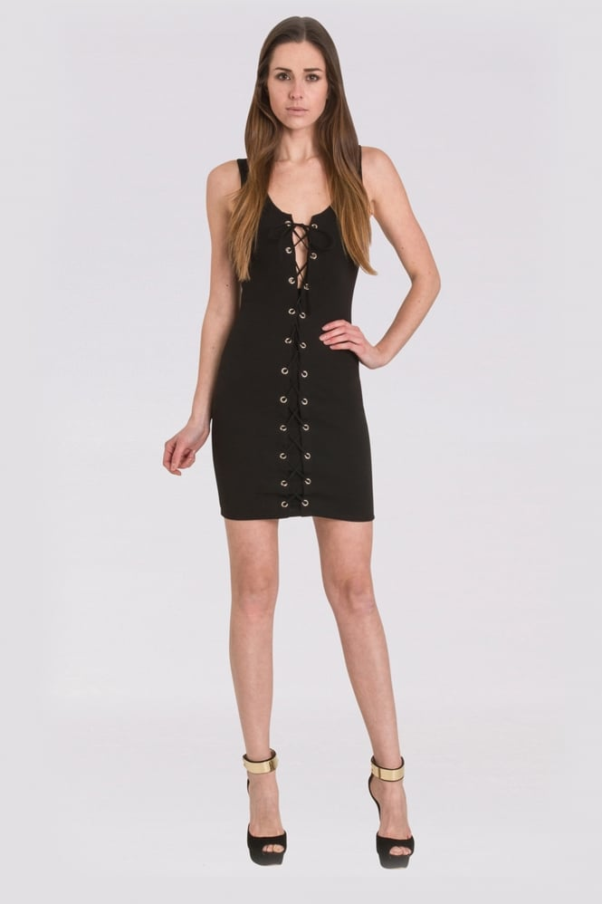WalG Lace Up Mini Dress