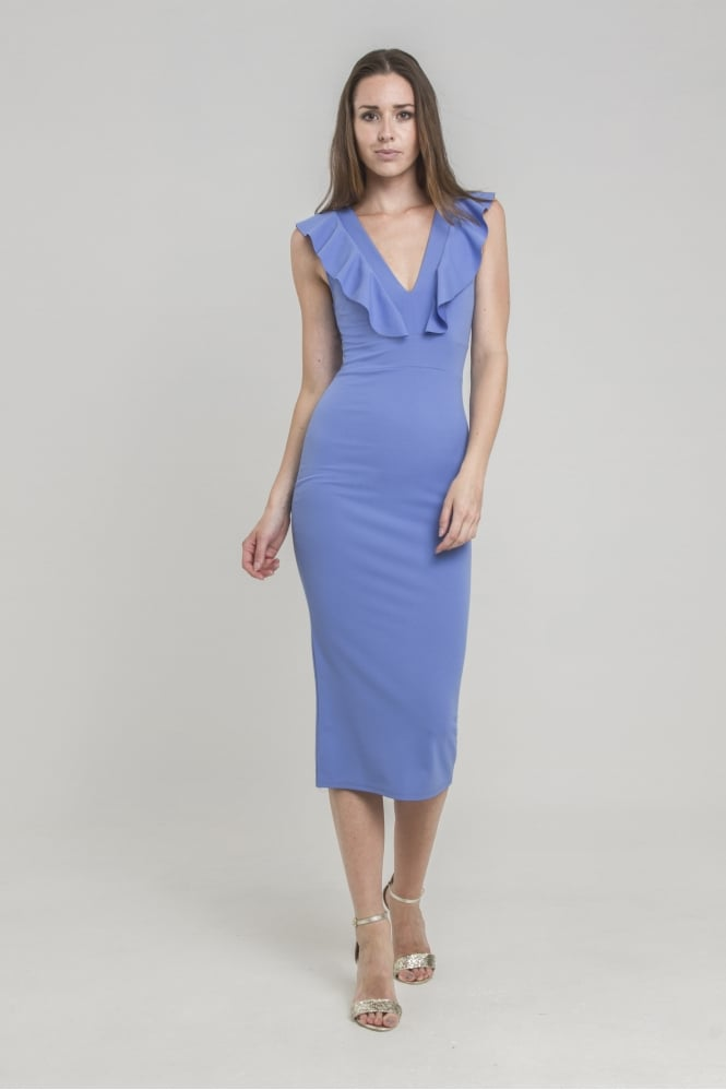WalG Ruffle V Neck Midi Dress