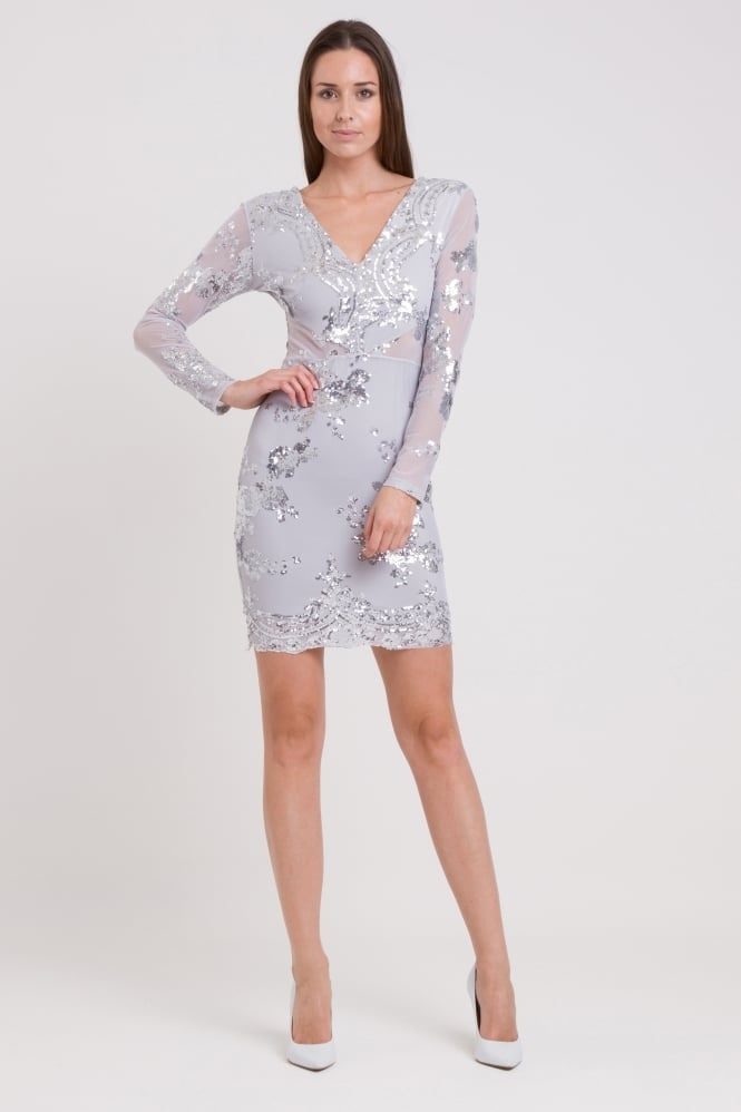 WalG Sequin Full Sleeve Midi Dress